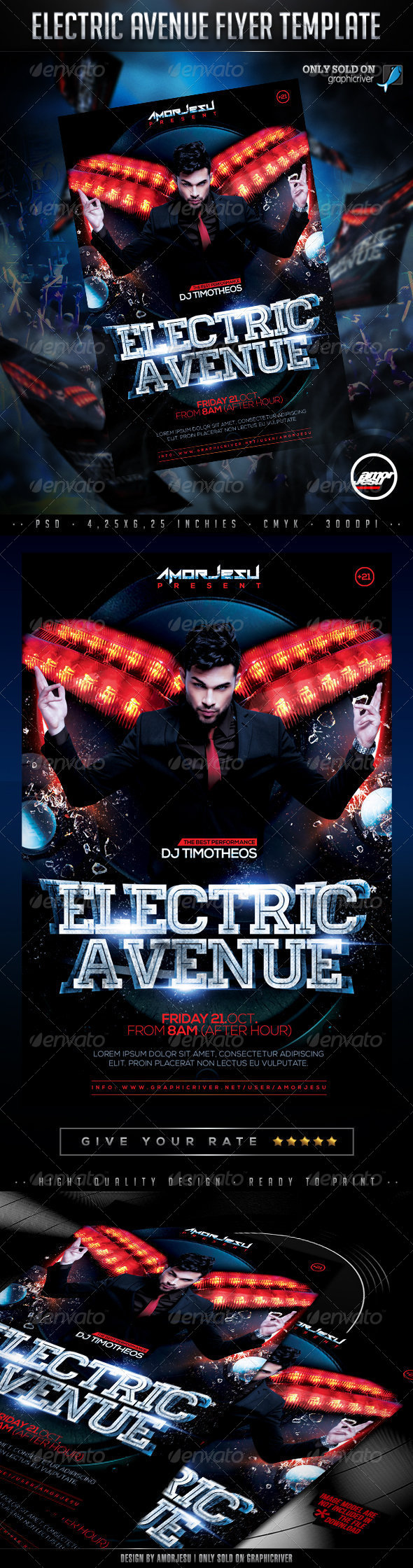 Electric Avenue Flyer Template - Clubs & Parties Events