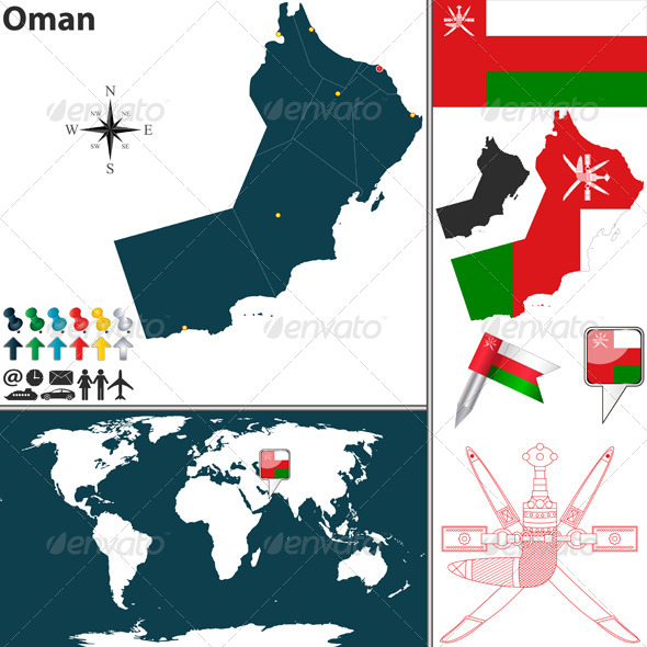 Map of Oman - Travel Conceptual