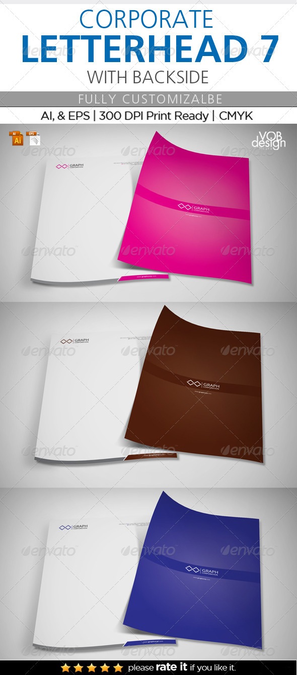 Corporate Letterhead 7 with Back - Stationery Print Templates
