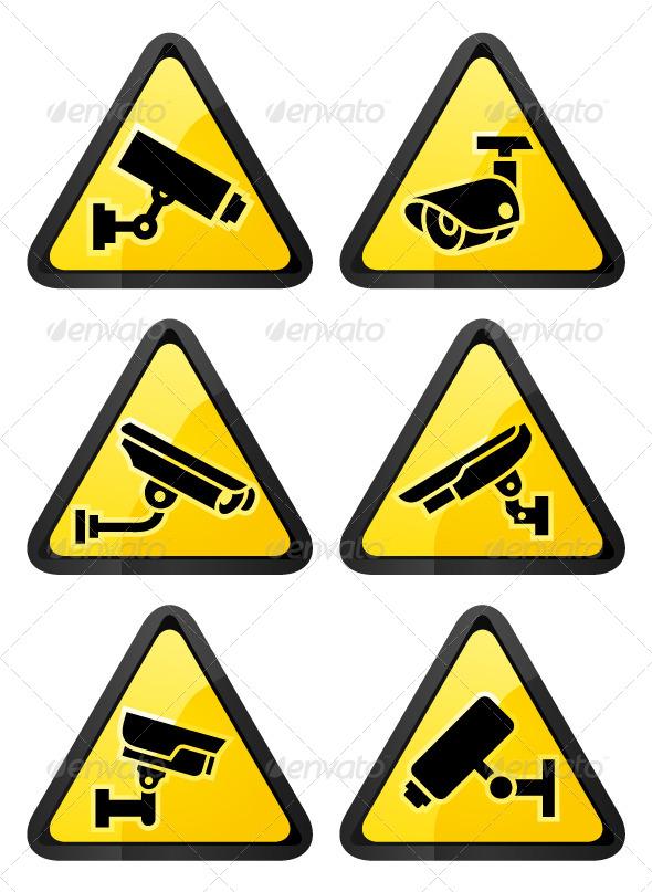 Six Video Surveillance Symbols, Triangular Shape - Decorative Symbols Decorative