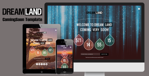 Dreamland – Responsive Coming Soon Page
