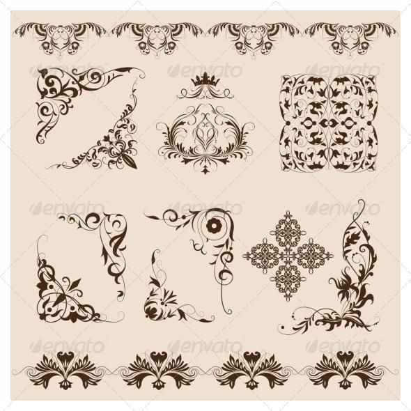 Set of Vector Damask Ornaments. - Patterns Decorative