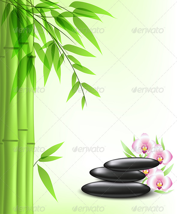 Green Bamboo and Spa Stones - Health/Medicine Conceptual