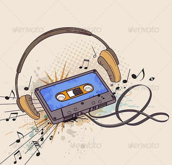 Audio Cassette and Headphones - Miscellaneous Vectors
