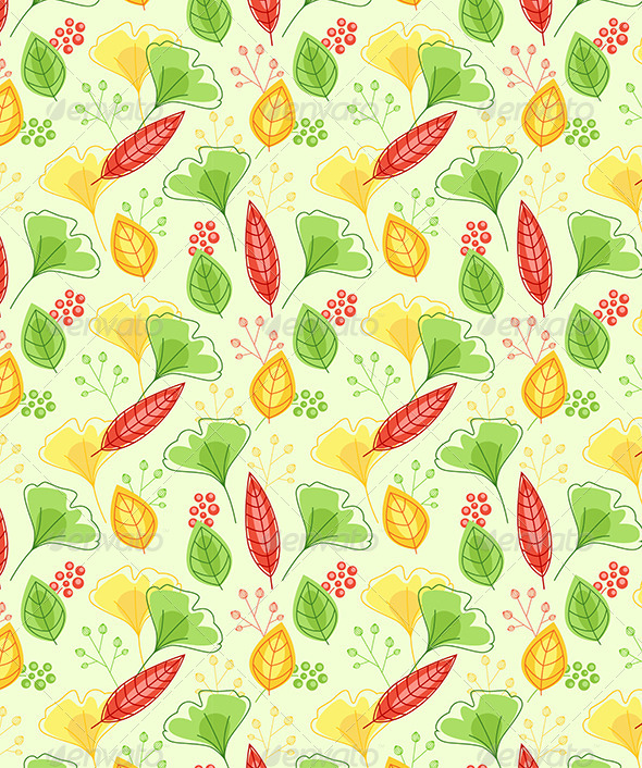 Seamless Pattern with Green and Yellow Leaves - Patterns Decorative