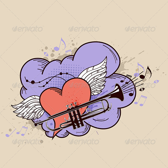 Red Heart and Trumpet - Miscellaneous Vectors