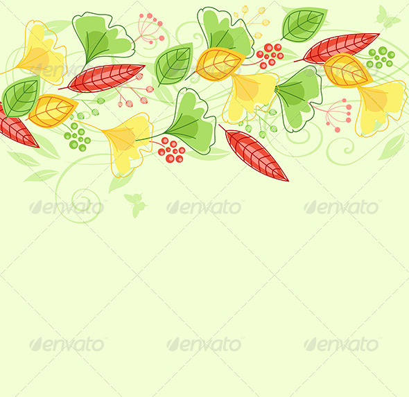 Background with Green and Yellow Leaves - Backgrounds Decorative