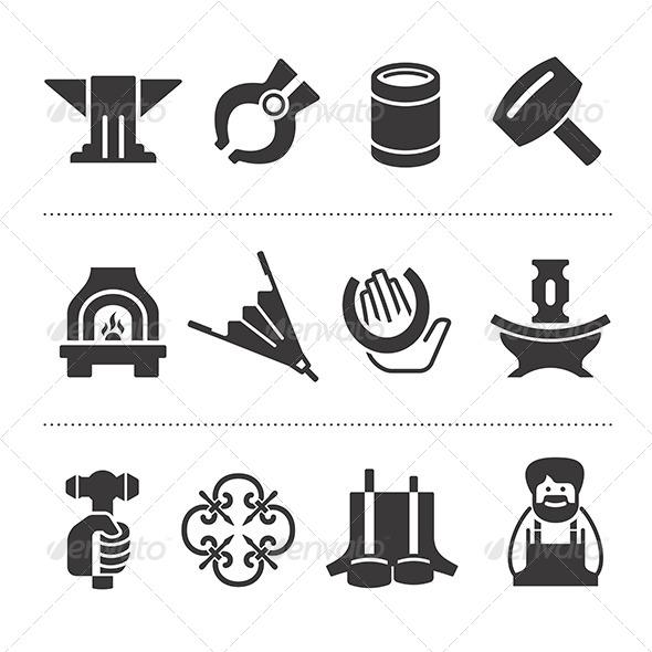 Set Of Blacksmithing Icons - Objects Icons