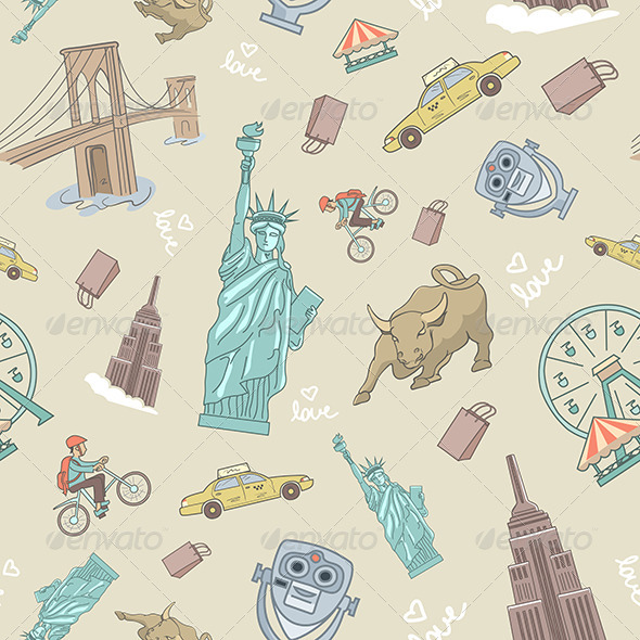 New York Seamless Pattern - Patterns Decorative