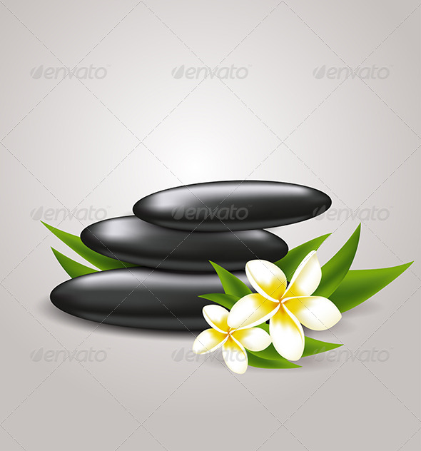 Flowers and Spa Stones - Health/Medicine Conceptual