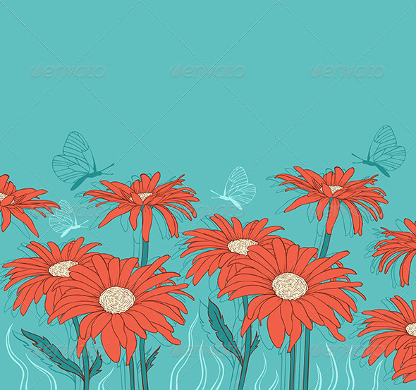 Green Background with Red Gerbera - Flowers & Plants Nature
