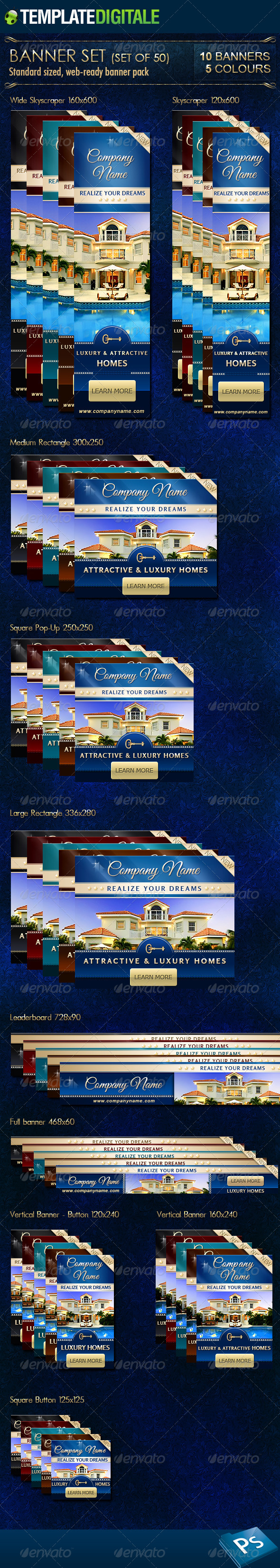 Luxury Real Estate Banner Set - Banners & Ads Web Elements