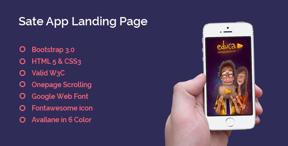Sate App Landing Page – One Page