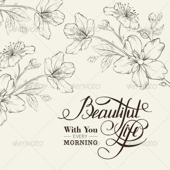 Calligraphy cherry blossom by kotkoa graphicriver