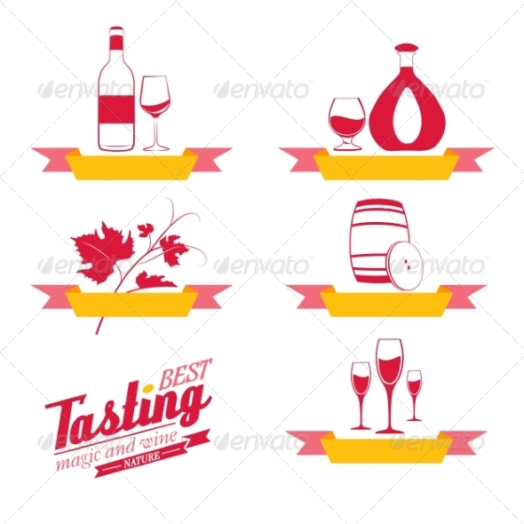 Labels Set of Drinks for Restaurant and Cafe - Food Objects