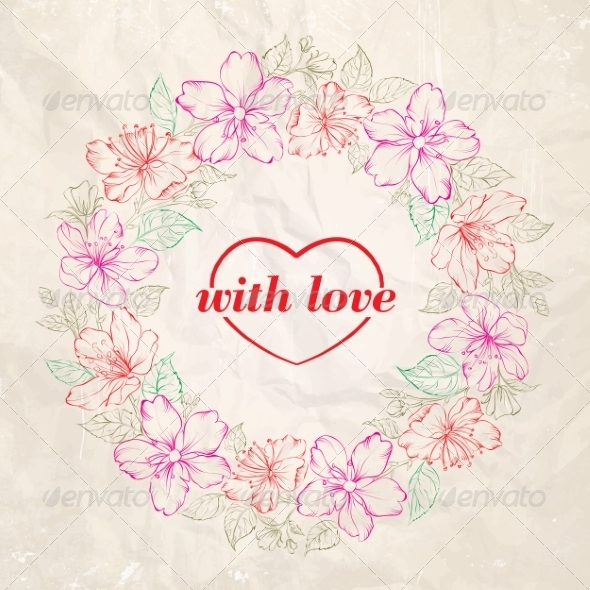 Floral Wreath Valentine Design - Valentines Seasons/Holidays