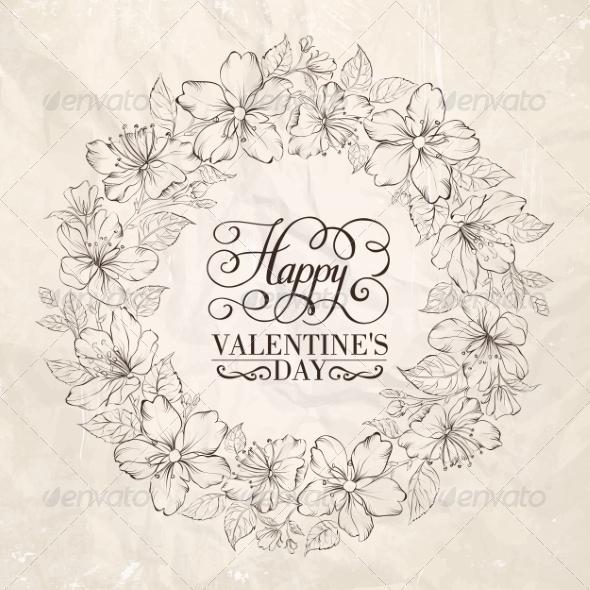 Floral Wreath Valentine Design - Valentines Seasons/Holidays