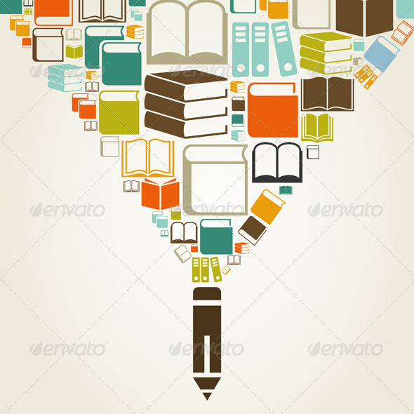 Books and Pencil - Miscellaneous Vectors
