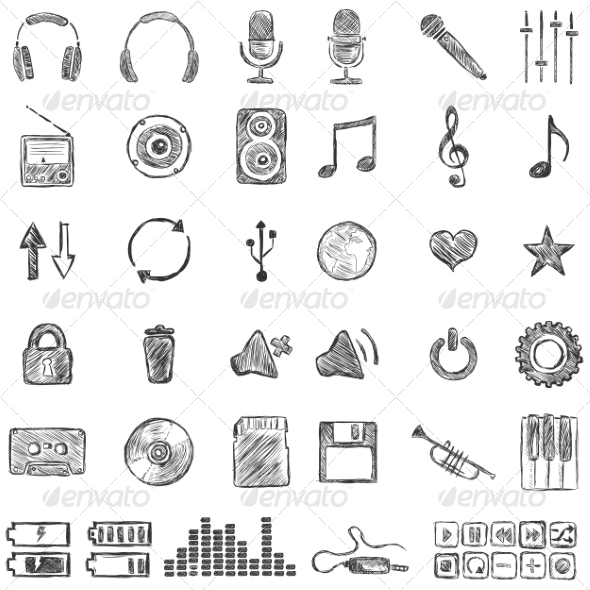Set of Sketch Music Icons - Media Technology