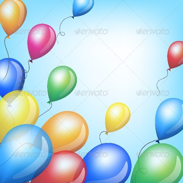 Holiday Background with Colorful Balloons in Sky - Miscellaneous Seasons/Holidays