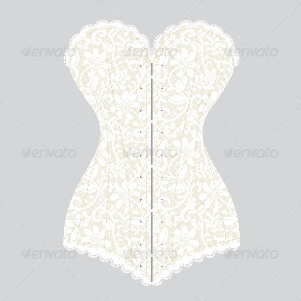 Lace White Vintage Corset on Gray Background - Man-made Objects Objects