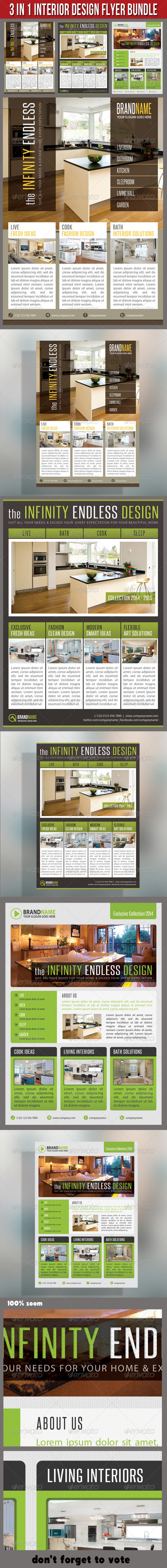 3 in 1 Interior Product Flyer Bundle 02 - Commerce Flyers