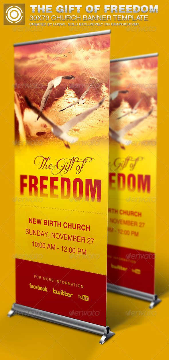 Gift of Freedom Church Banner Signage Template - Signage Print Templates