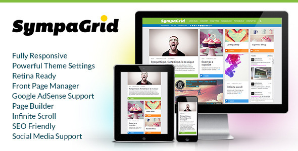 SympaGrid - Responsive Grid WordPress Theme  - News / Editorial Blog / Magazine