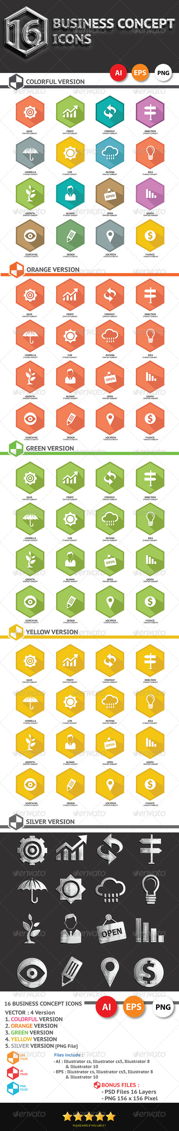 16 Business Concept Icons - Business Icons