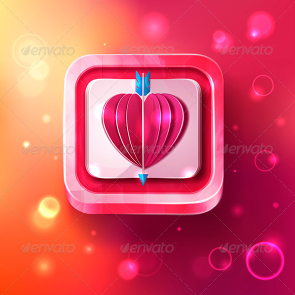 Valentines Day Card with Arrow  - Web Icons