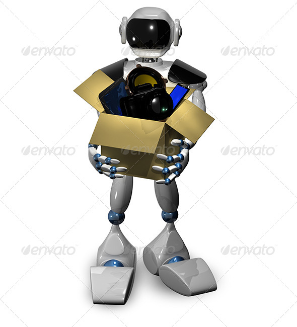 Robot with box - Objects 3D Renders