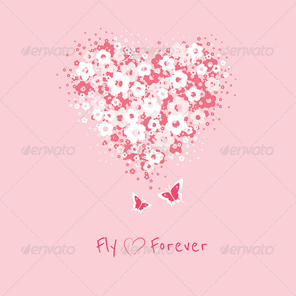 Flower Heart with Butterflies Card - Cards & Invites Print Templates