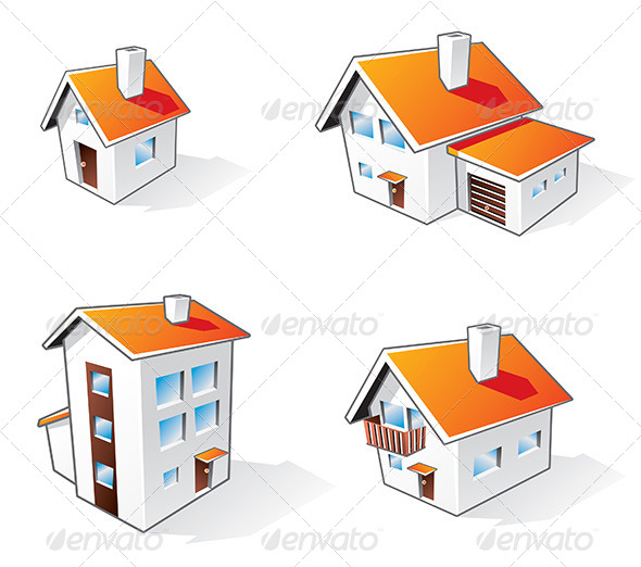 Four Houses Cartoon Icons - Buildings Objects