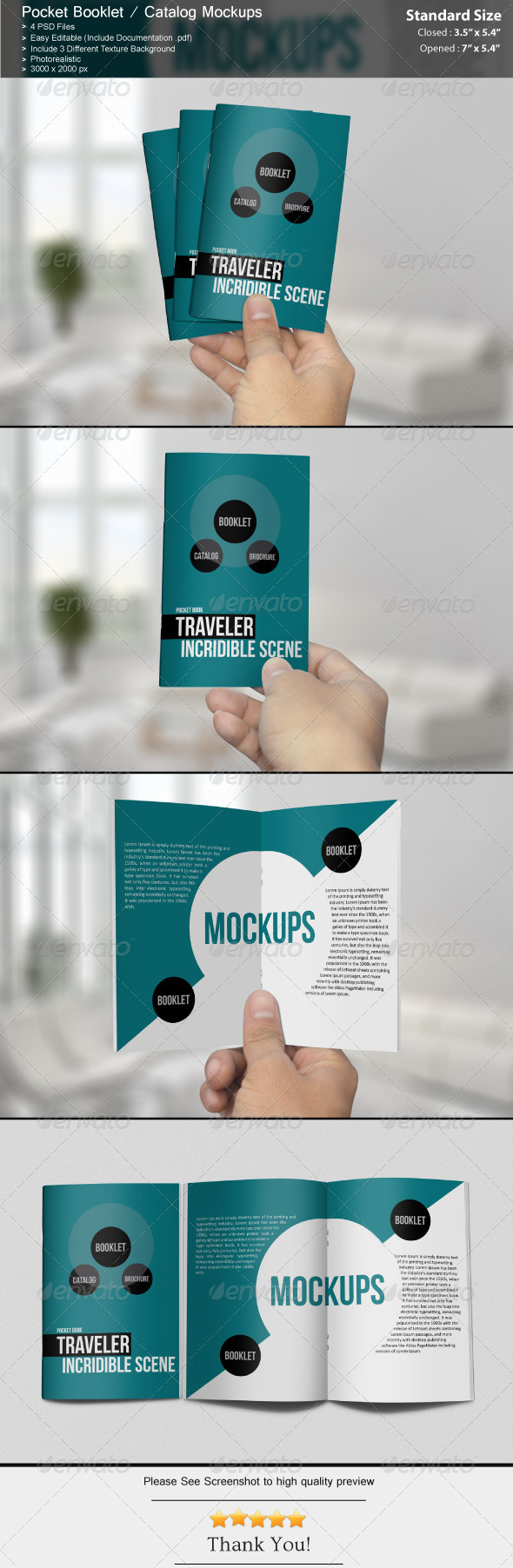 Pocket Booklet / Catalog Mockups - Brochures Print