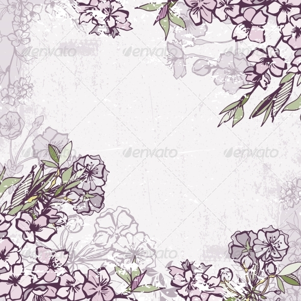 Decorative Frame with Blossoming Cherry or Sakura - Borders Decorative