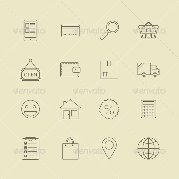 Navigation Buttons for Online Internet Store - Web Elements Vectors