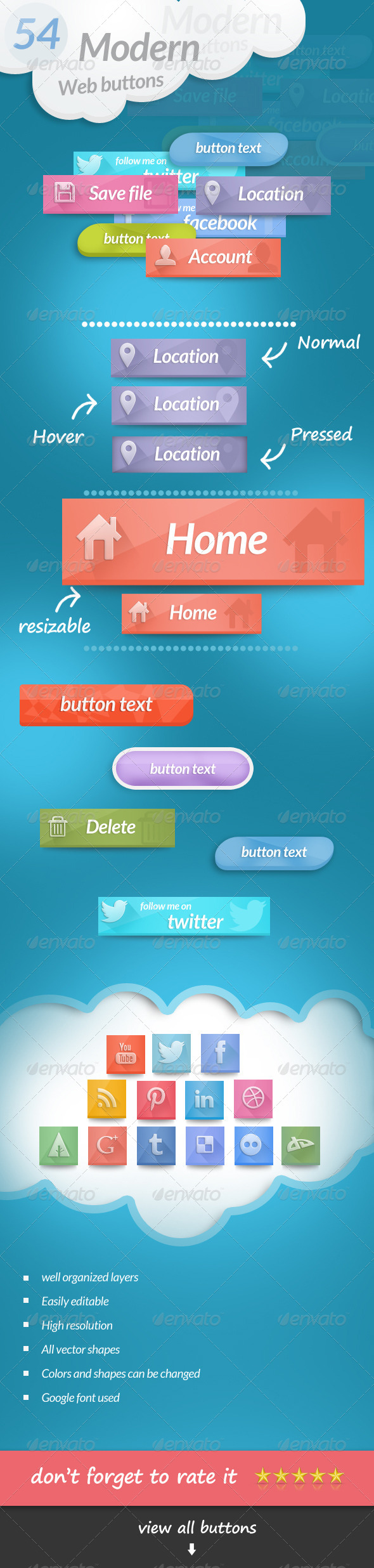 54 Modern Web Buttons - Buttons Web Elements