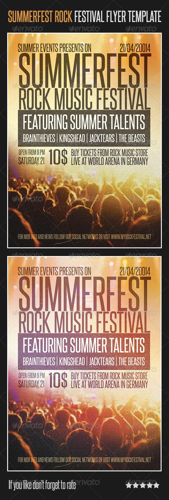 Summerfest Rock Festival Flyer Template - Concerts Events