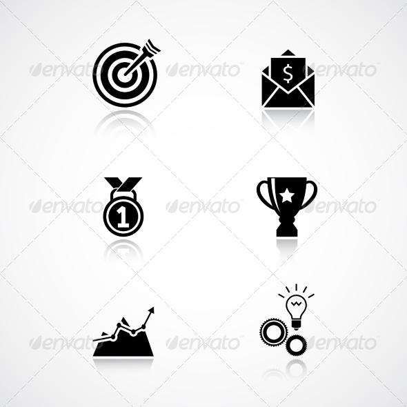 Goal Achievement Icons Set - Web Technology