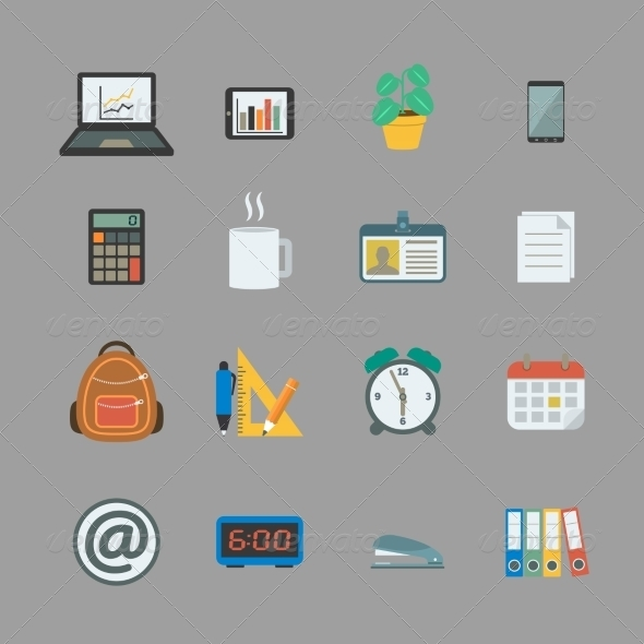 Business Collection of Office Supplies - Web Elements Vectors