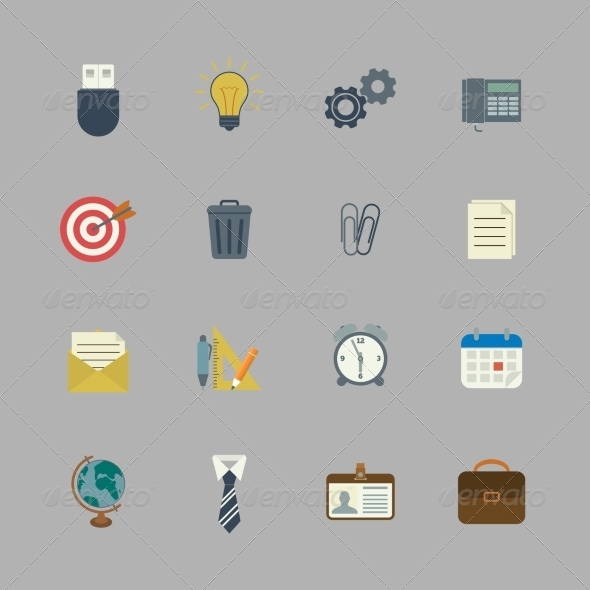 Business Collection of Flat Stationery Supplies - Web Elements Vectors