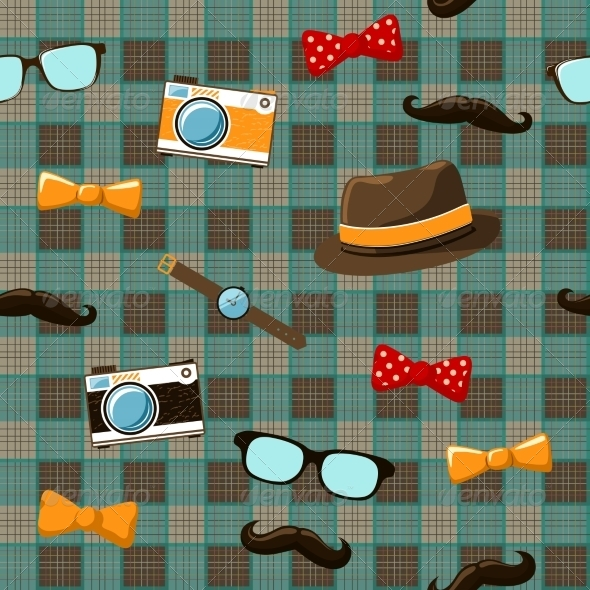 Hipster Items on Seamless Tablecloth - Backgrounds Decorative