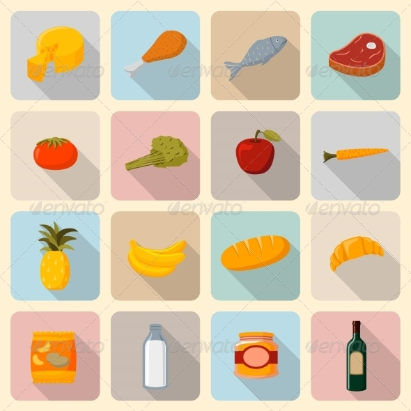 Supermarket Foods Icons Set - Food Objects