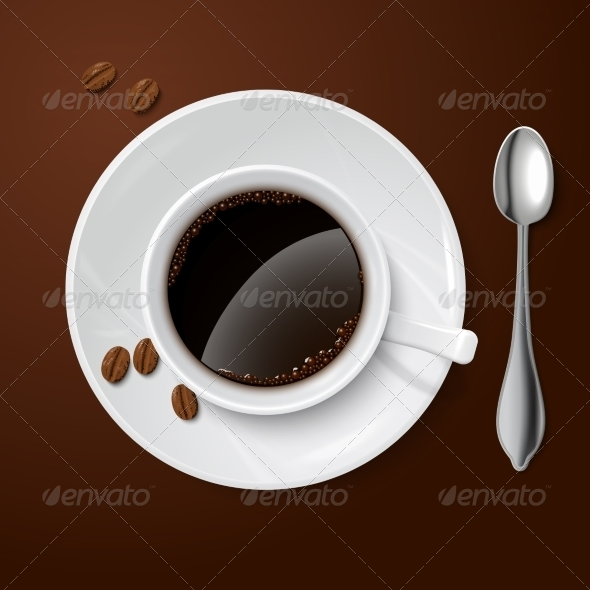 White Cup with Coffee - Man-made Objects Objects