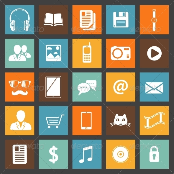 Flat Media Devices and Services Icons Set - Web Icons