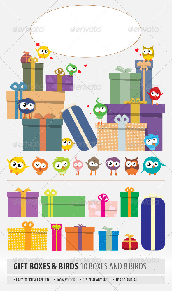 Gift Boxes and Birds - Seasons/Holidays Conceptual