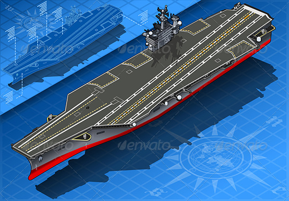 Isometric Aircraft Carrier in Front View - Objects Vectors