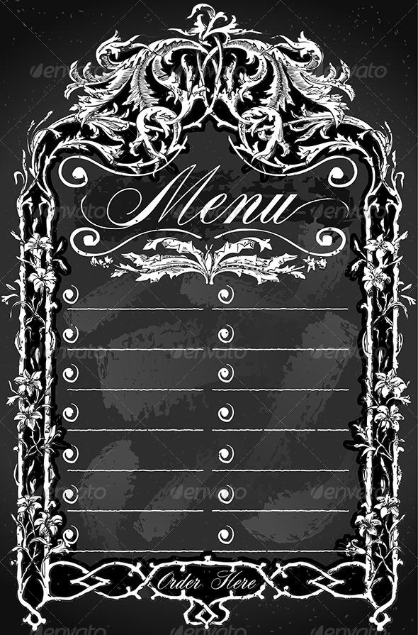 Vintage Blackboard for Bar or Restaurant Menu - Decorative Vectors
