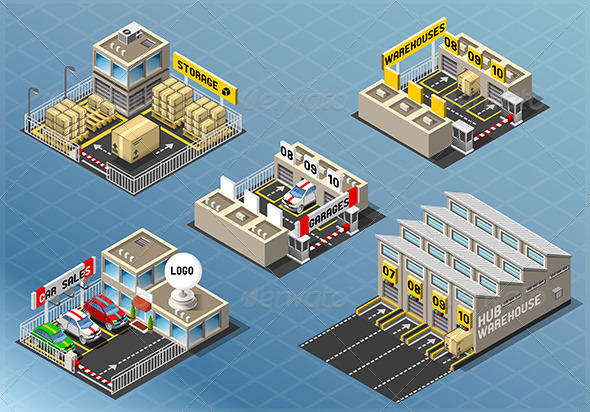 Isometric Set of Storage Buildings - Buildings Objects