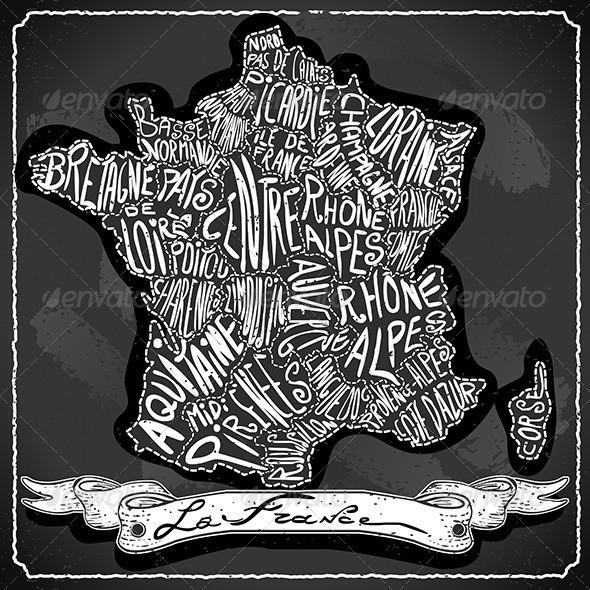 France Map on Vintage Handwriting BlackBoard - Backgrounds Decorative